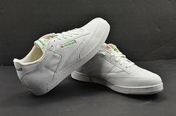Reebok Classic White Green Trim Mens  Leather Tennis Shoes s