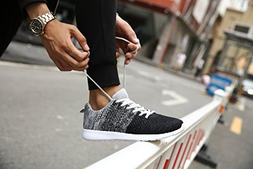 WELMEE Knit Breathable Casual Lightweight Athletic Tennis US, Black)