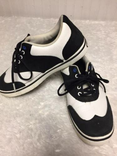mens black white leather tennis shoes 9