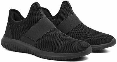 Feetmat Mens Tennis Slip On Shoes Laceless Knitted Fas