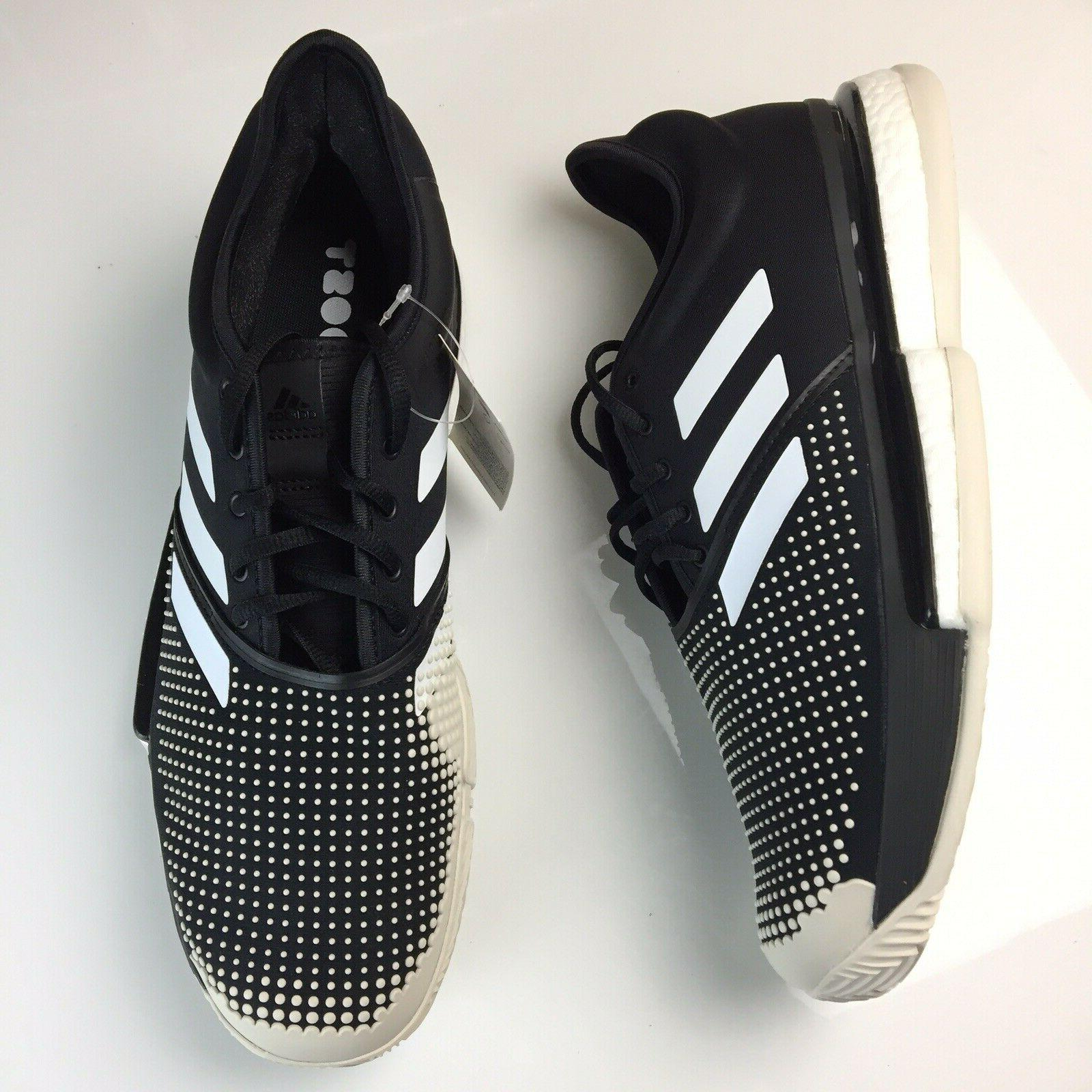 solecourt boost clay tennis shoes black white