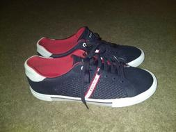 Tommy Hilfiger Men's Knit Low Top Sneakers Navy Blue/Red Siz