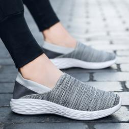 Mens Slip-On Casual Comfort Walking Shoe Knit Tennis Shoes L