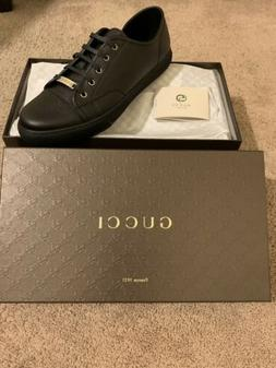 Gucci Tennis Shoes Black Leather Authentic Men's sz 11 Fas